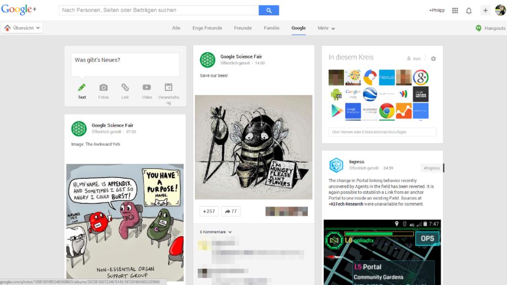 Google Plus: Desktop-Seite