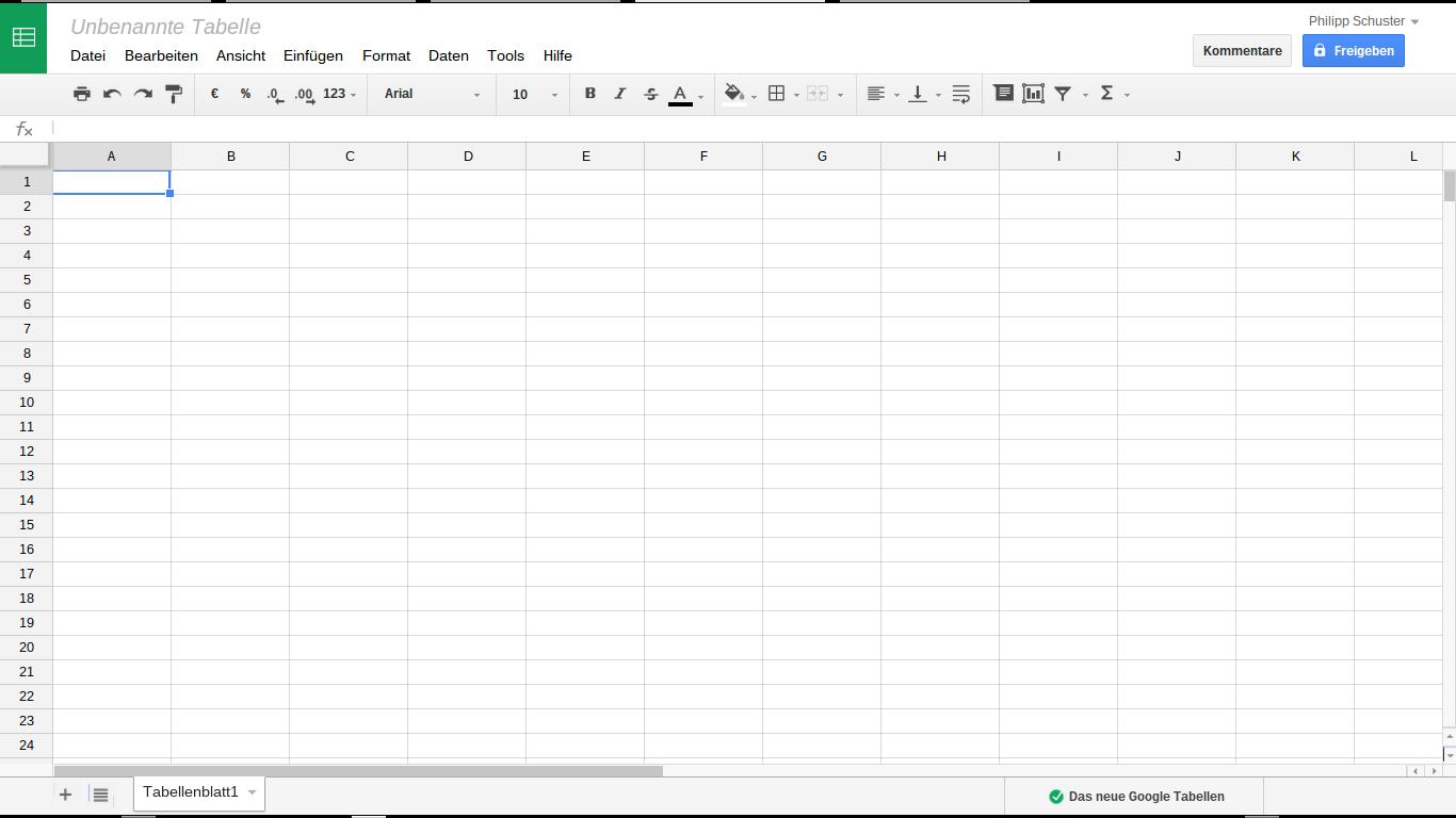 Google Docs - Tabellenkalkulation
