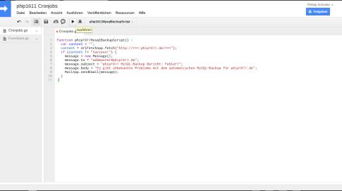 Google Apps Script als Cronjob-Ersatz (Webserver)