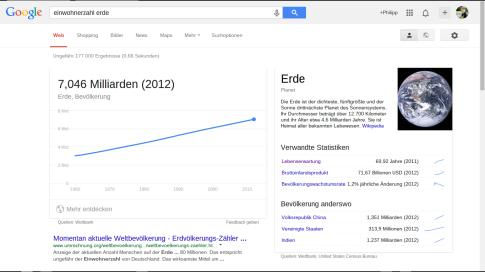 Bevölkerung Erde Google Infokachel