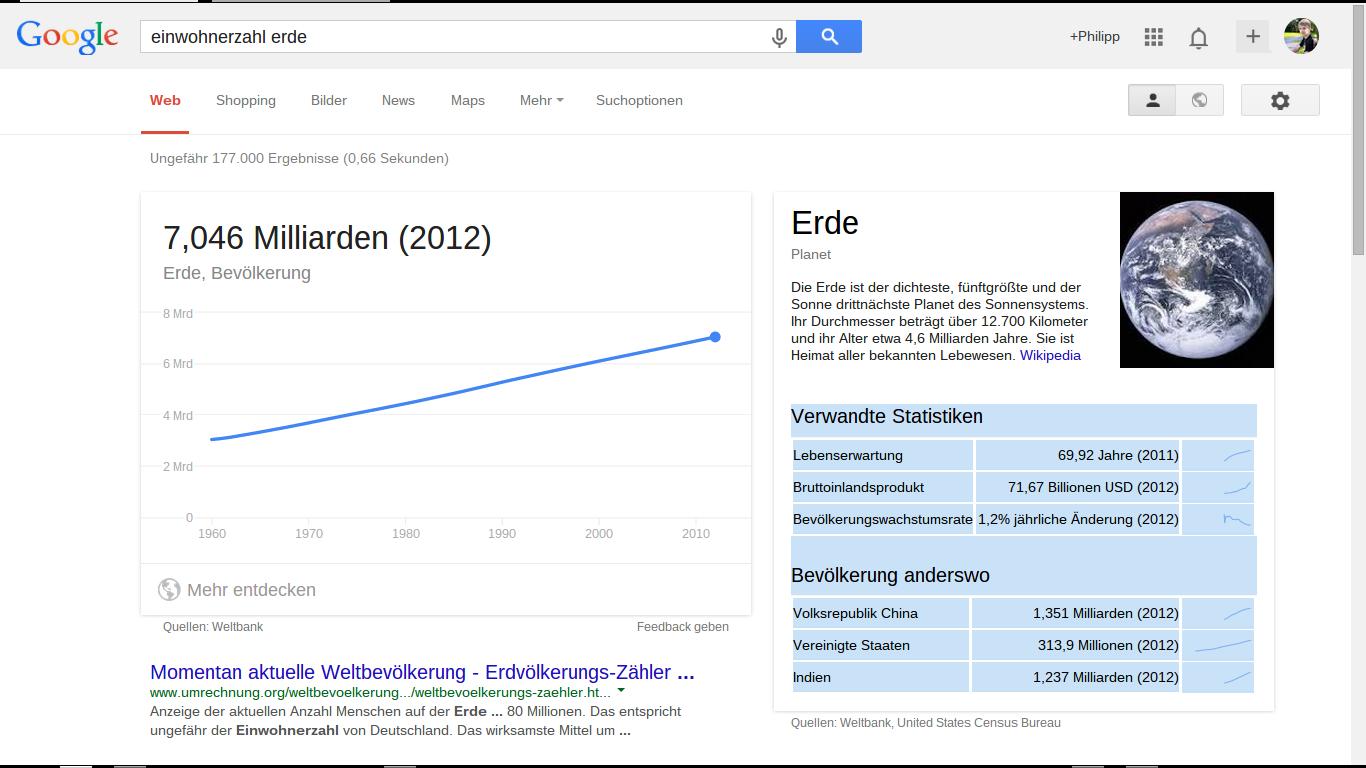 Bevölkerung Erde Google Infokachel markiert