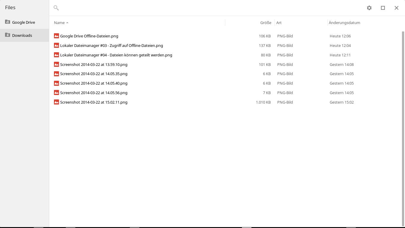 Einfacher Wechsel zwischen lokalen und Drive-Dateien.
