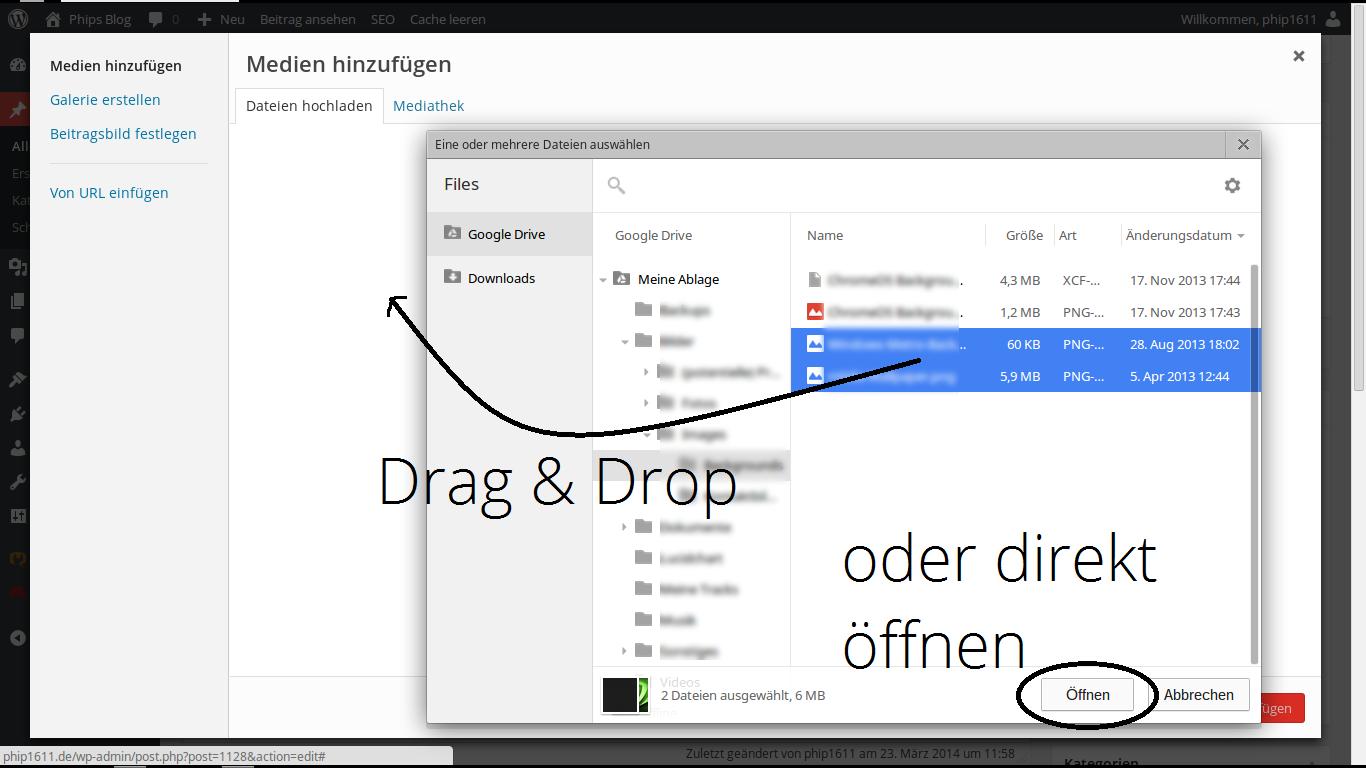 Drive-Dateien über den lokalen Dateimanager in Webdiensten hochladbar