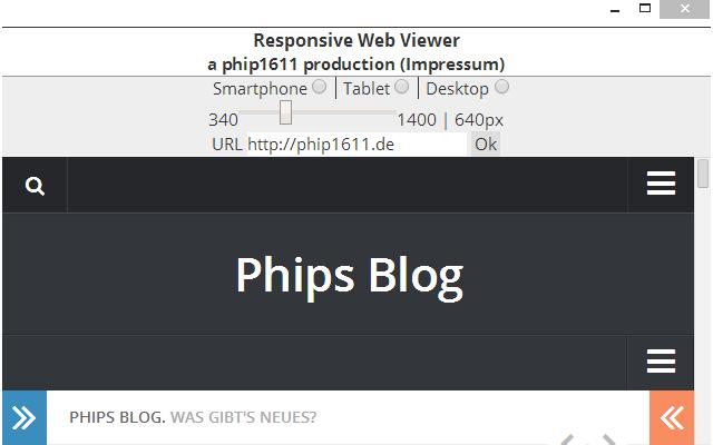 Screenshot: Chrome-App Responsive Website Viewer