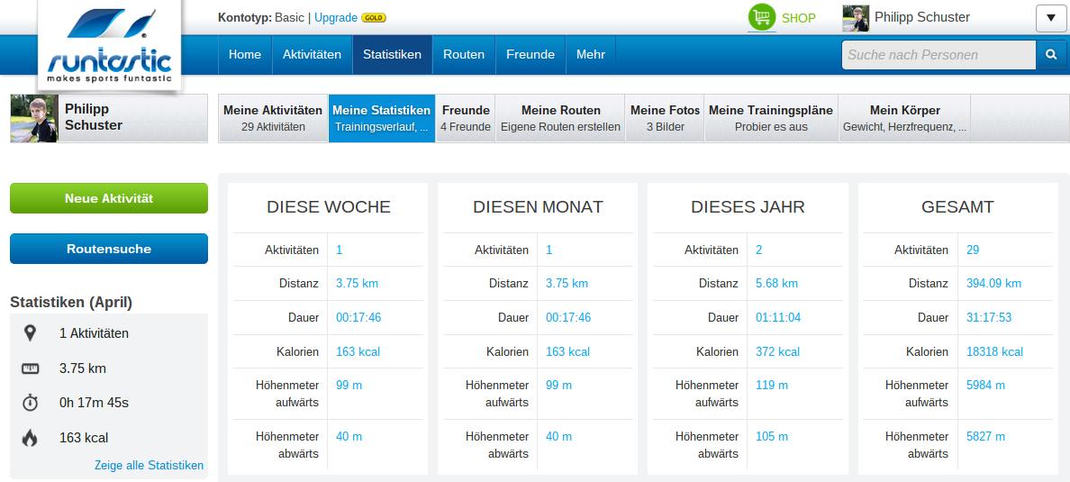 Screenshot: Mein Runtastic-Profil