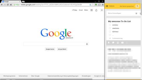 Chrome Apps oder Tabs in ChromeOS an der Seite anpinnen