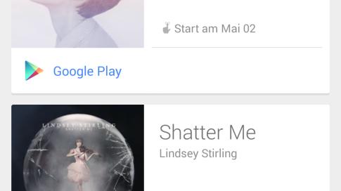 Google Now benachrichtigt nun über neue Alben der Lieblingsinterpreten bei Google Play