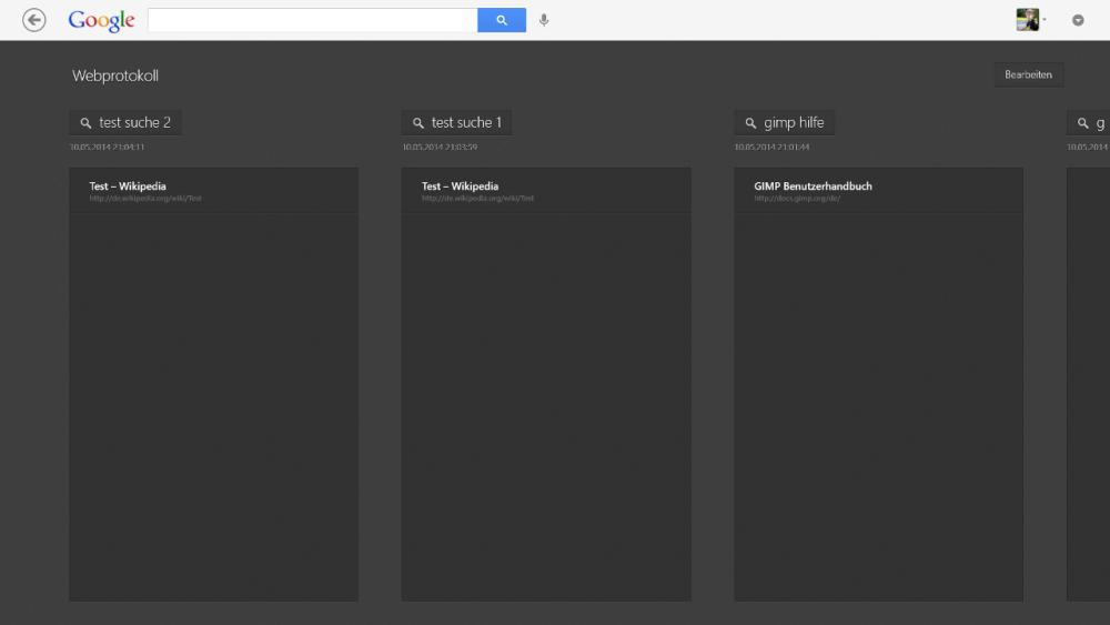 Google Suche Appfür Windows 8 - Webprotokoll