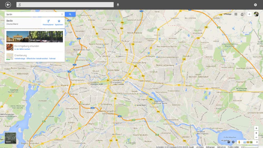Google Suche App für Windows 8 - App Google Maps