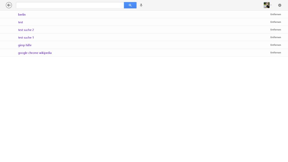 Google Suche App für Windows 8 - Suchfeld aktiviert