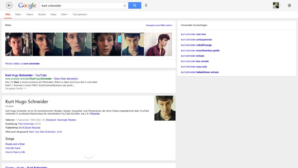 Google Suche App für Windows 8 - Suche nach Kurt Schneider