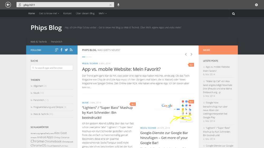 Google Suche App für Windows 8 - Interner Webbrowser:Phips Blog