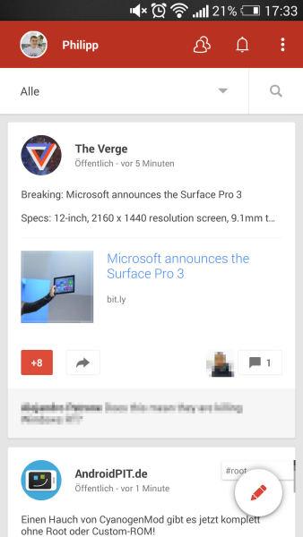 Neues Google+ UI für Android #1