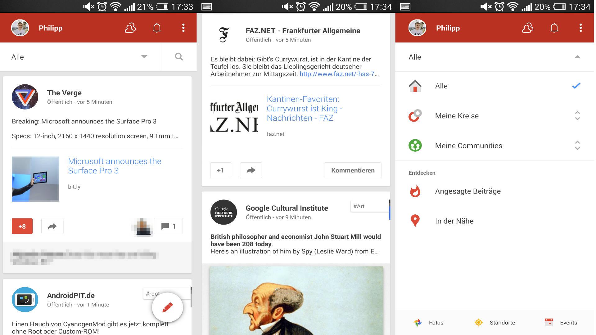 Neues Google+ UI für Android - Artikelbild