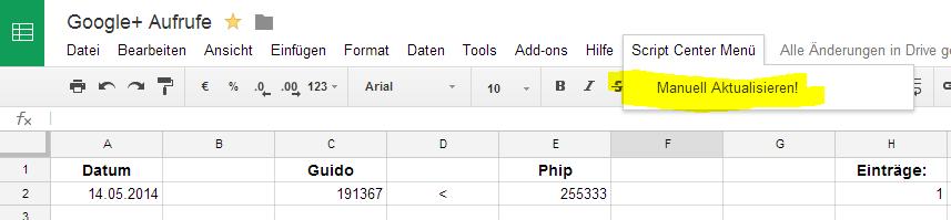Tabelle manuell aktualisieren: Google+ Profil Aufrufe