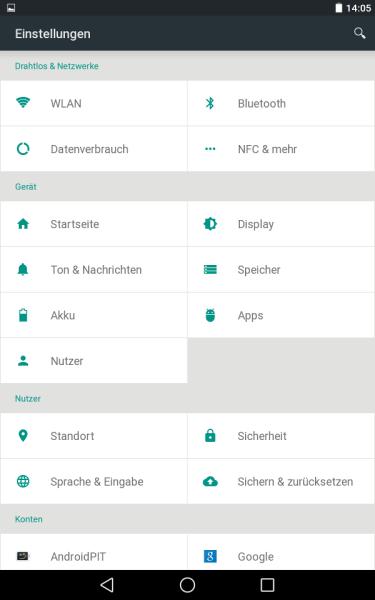 Einstellungen-Menü (Android L Preview auf Nexus 7)