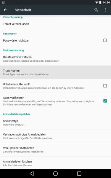Systemsicherheit (Android L Preview auf Nexus 7)