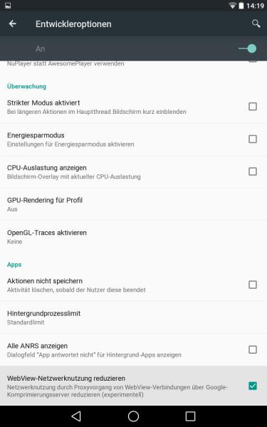 Entwickler-Optionen (Android L Preview auf Nexus 7)