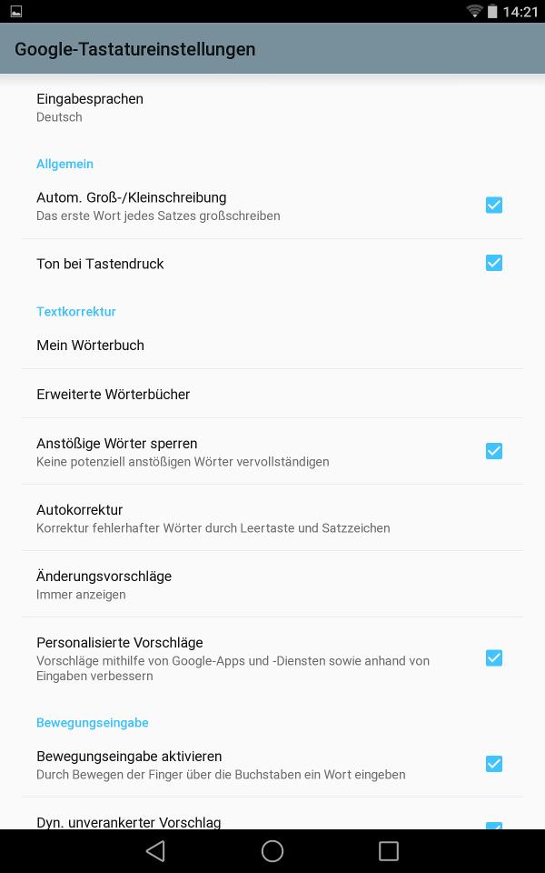Google Tastatur-Einstellungen (Android L Preview auf Nexus 7)