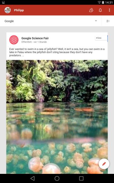 Beispiel Google+ App (Android L Preview auf Nexus 7)