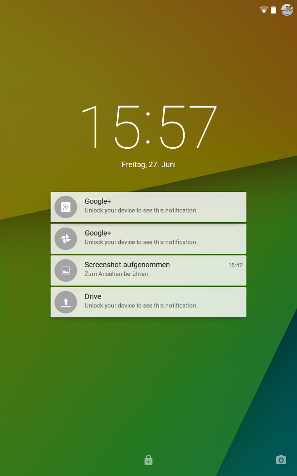 Lockscreen (Android L Preview auf Nexus 7)