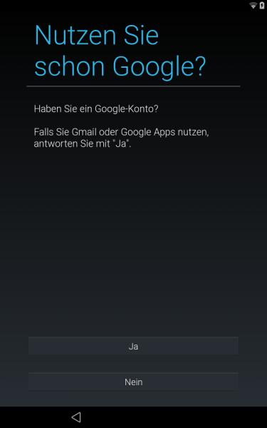 Google-Konto einrichten (Android L Preview auf Nexus 7)