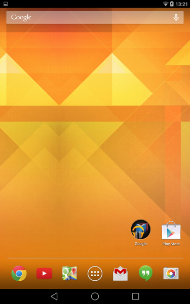 Homescreen (Android L Preview auf Nexus 7)