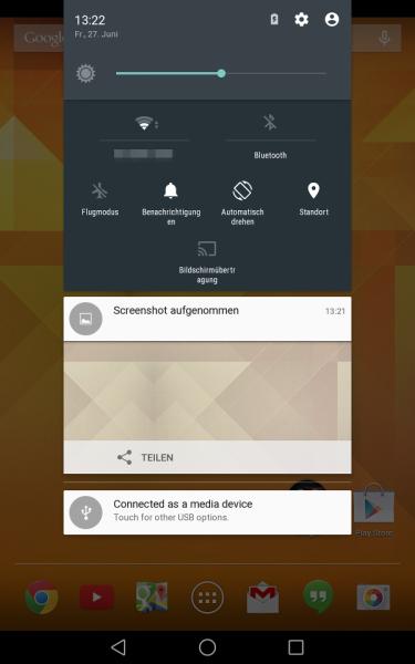 Benachrichtigungscenter + Quick-Settings (Android L Preview auf Nexus 7)