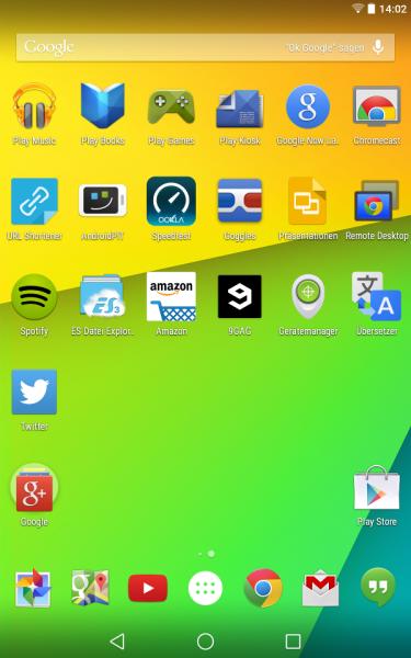 Google Now-Launcher (Android L Preview auf Nexus 7)