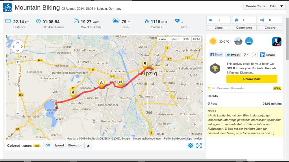 Fahrrad-Tour - Screenshot: Runtastic