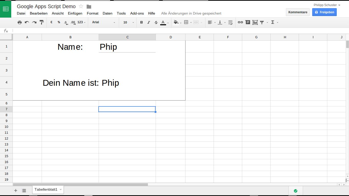 Google Spreadsheet: Demo Google Apps Script