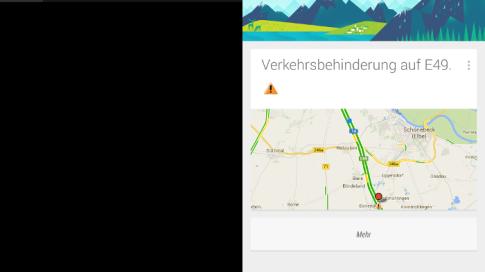 Google Now: Warnung & Meldungen zum Verkehrsfluss