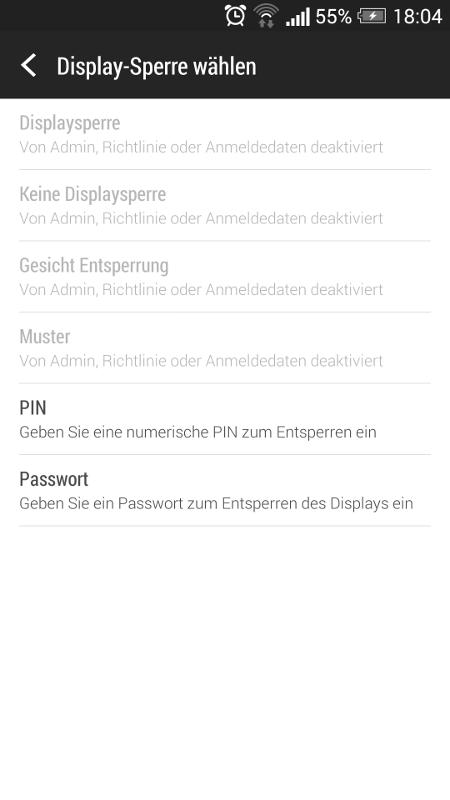 Android Speicher Verschlüsselung - Display-Sperre wählen