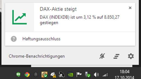 Chrome: Google Now: Kachel zu Aktienupdate
