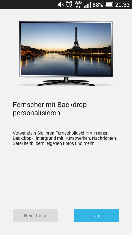 Chromecast-App - Backdrop aktivieren