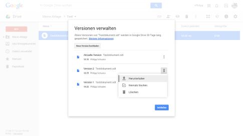 Google Drive Datei-Versionen verwalten (Menü)