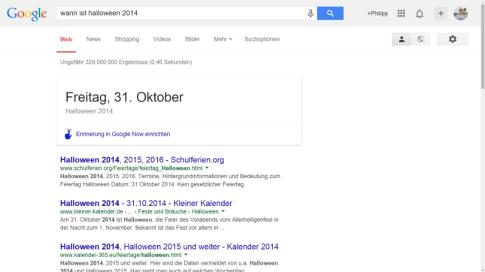 Google Now Erinnerungen über die Google Suche