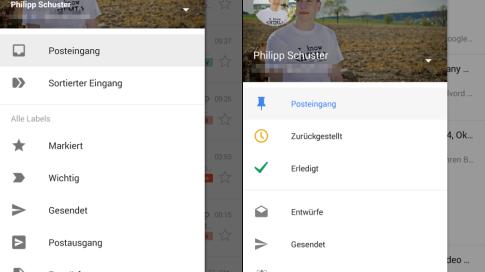 Vergleich: Google Inbox und Gmail - Android-Apps (Smartphone) - Navi-Menü (Hochformat)