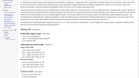 Wikipedia Artikel von Alex Goot