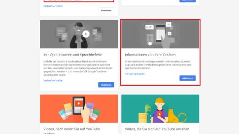 Google Kontoverlauf-Übersicht