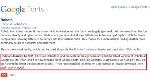 Roboto bei Google Fonts: Update Januar 2015
