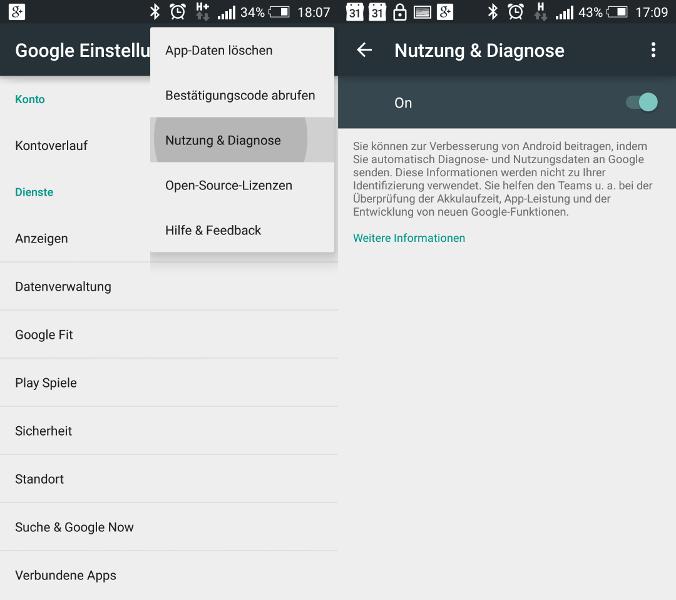 Lollipop Google Play Dienste Nutzungsstatistiken