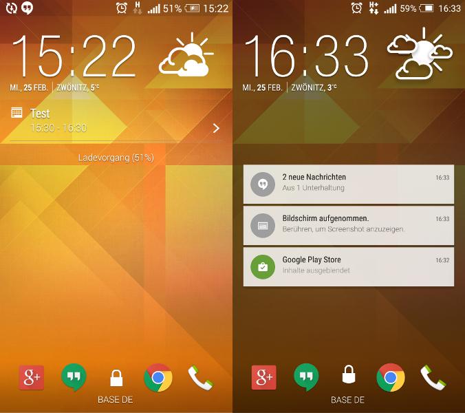 Vergleich Sperrbildschirm zwischen Kitkat und Lollipop (HTC Sense)