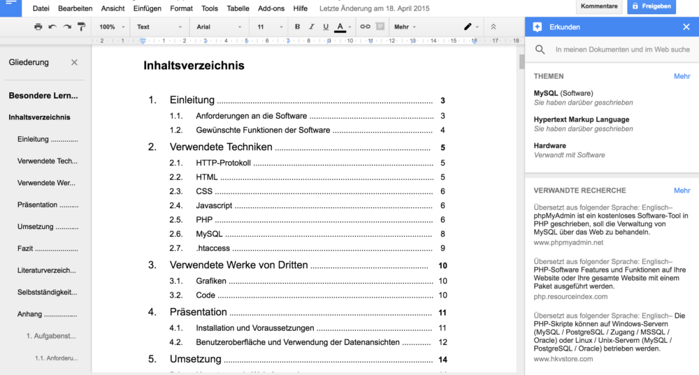 "Google Docs: Optional: Links Dokumentstruktur und rechts ""Erkunden""-Fenster"