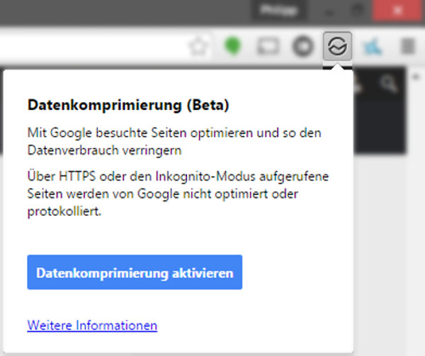 Chrome Datenkompression