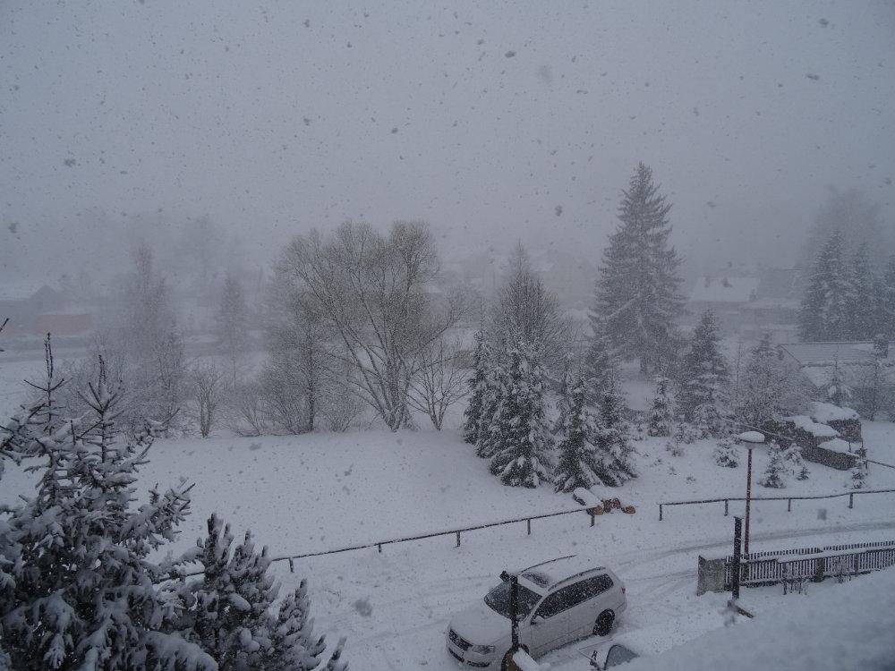 Schneesturm am 02. April 2015 im Erzgebirge