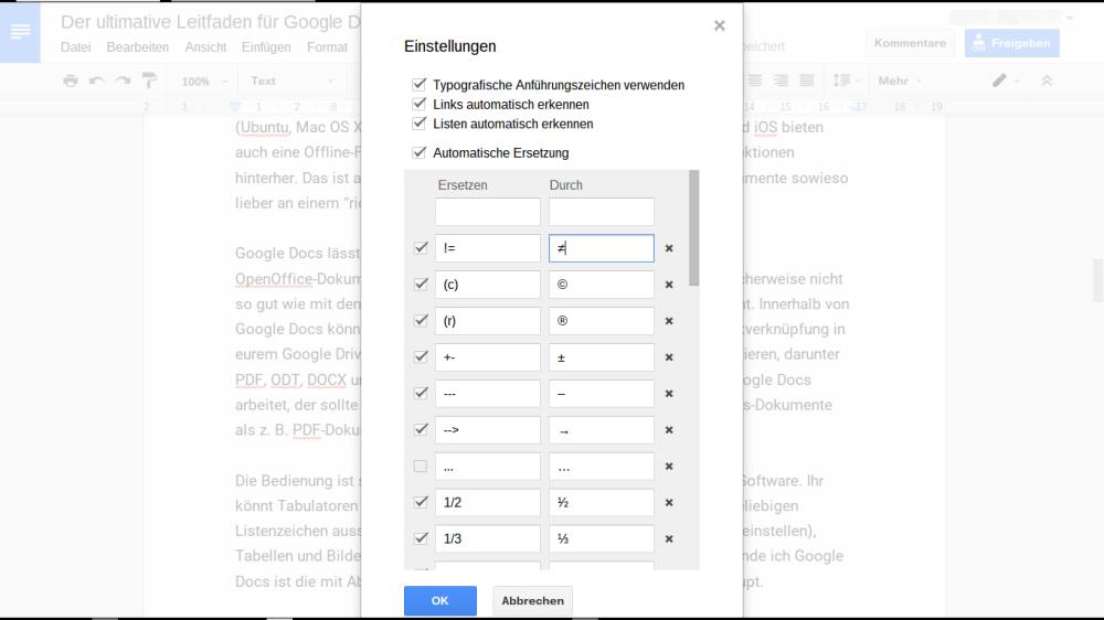 Google Docs: automatische Ersetzung