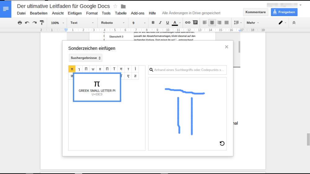 Google Docs: Sonderzeichen skizzieren