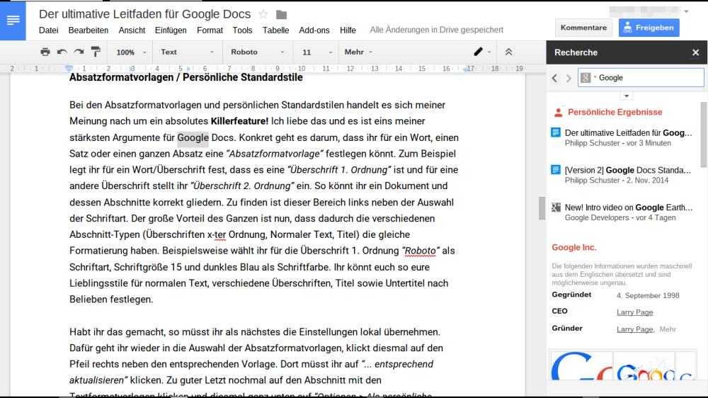 Google Docs: Interne Recherche