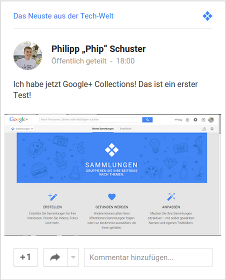 Google+ Collection-Post im Stream